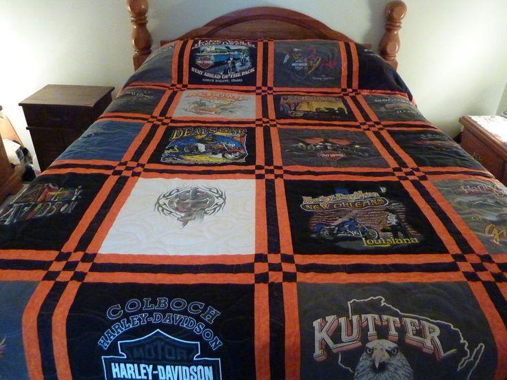 Harley Davidson T-shirt Queen size quilt, blanket