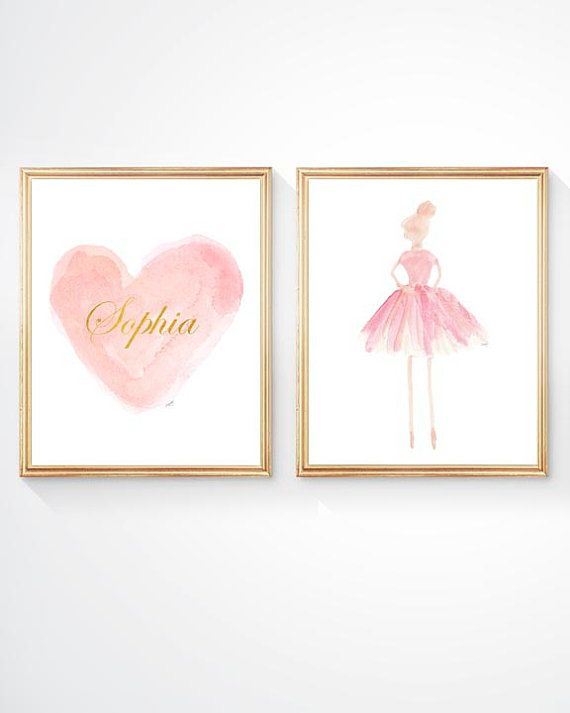 Ballet Gift Set Of 2 8x10 Ballerina Art Ballet Room Decor Girls Ballet Print Blush Nursery Blush Ballerina Decor Blush Ballet Decor