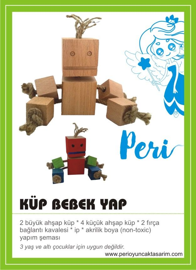 www.perioyuncaktasarim.com Küp Bebek Yap seti..Ahşap küpler, ip, boya ve fırçalar...