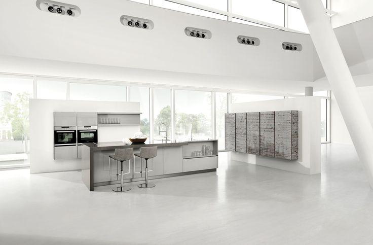 5083 GL | 4030 GL | Pinie-dunkel Furnier / Lichtgrau Hochglanz Lack - Häcker Küchen - Häcker Küchen
