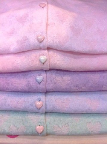 Pretty pastel heart patterned cardigans with heart-shaped buttons, how I'd love one or all of these!!