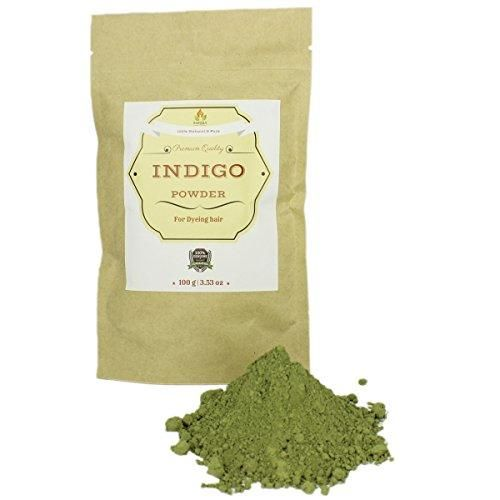 Pure & Natural Indigo Powder for Hair 3.53 oz I Ecologically Produced & Harvested Herb with High Grade Natural Dye to get Black Hair for Both Men & Women