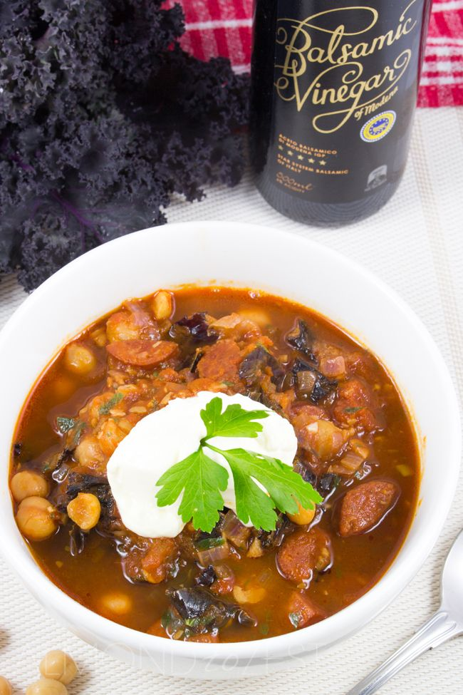 Chick pea, Chorizo and Kale Stoup - A super easy, no-fuss, quick to make and healthy soup! Super cute little chickpeas, slices of spicy chorizo and roughly torn pieces of purple kale, hearty and delicious!!