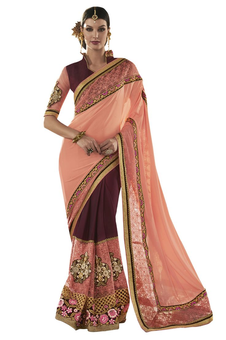 Buy Now Peach-Maroon Fancy Embroidery Chiffon Georgette Half-Half Wedding Wear Saree only at Lalgulal.com Price :- 4,632/- inr. To Order :- http://goo.gl/DPwk3l COD & Free Shipping Available only in India
