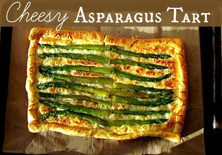 Cheesy Asparagus Tart - so easy to make & would be beautiful on a holiday table!