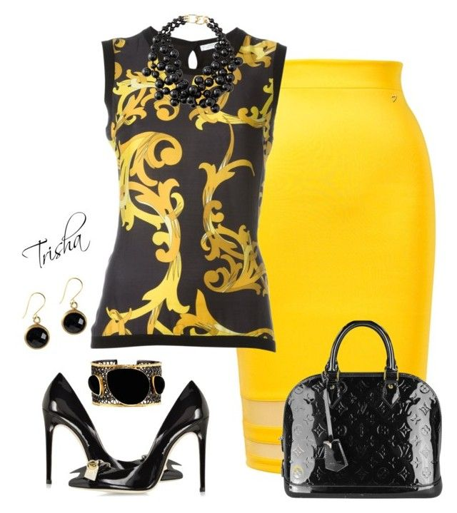 """Yellow Skirt"" Outfit and on Polyvore featuring Thalia Sodi, Versace, Louis Vuitton, Kenneth Jay Lane, Loriblu and Mela Artisans"