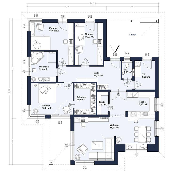 Zenker Konzept BU 140 mit Walmdach, Erdgeschoß (Abbildung mit Sonderausstattung)