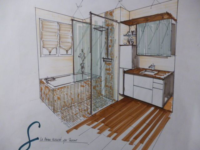 croquis salle de bain renderings and sketchs. Black Bedroom Furniture Sets. Home Design Ideas