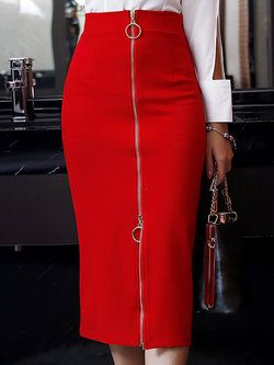 Red Bodycon Elegant Solid Plus Size Plus Size Skirt