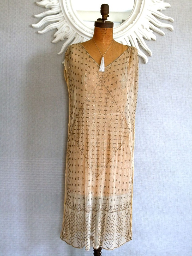 Absolutely Charming!   A 1920s Assuit Dress/Art Deco/ Flapper Egyptian Assuit Shawl Dress/ Beige $675