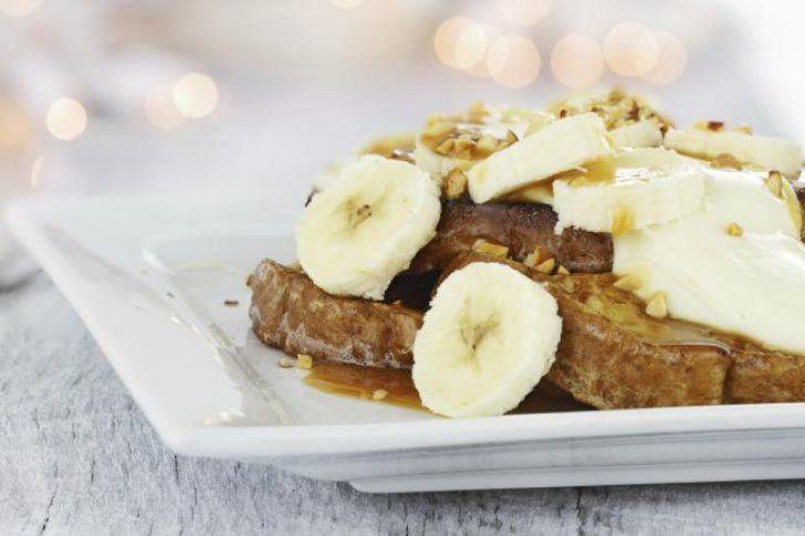 #Receta Pan francés con bananas caramelizadas