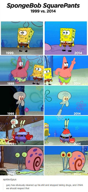 lol! go gary! But I love the old episodes. The new ones, just, aren't, as, good. Especially the new SpongeBob movie, that movie wasn't very good.... in my opinion.