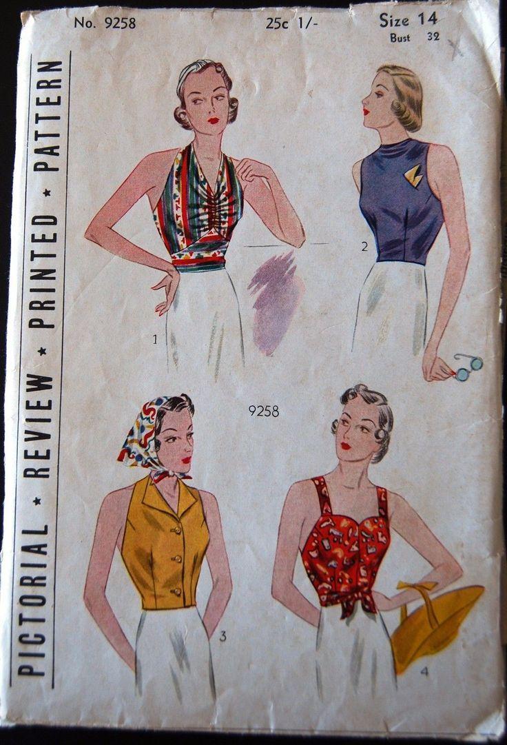 Vintage Original Simplicity 30's Halter gilet Pattern No 9258 | eBay