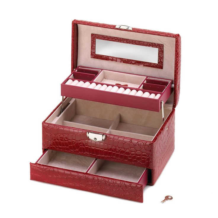 New Deluxe Red Jewelry Box with Lock, Handle Faux Leather Snakeskin Gift #Unbranded