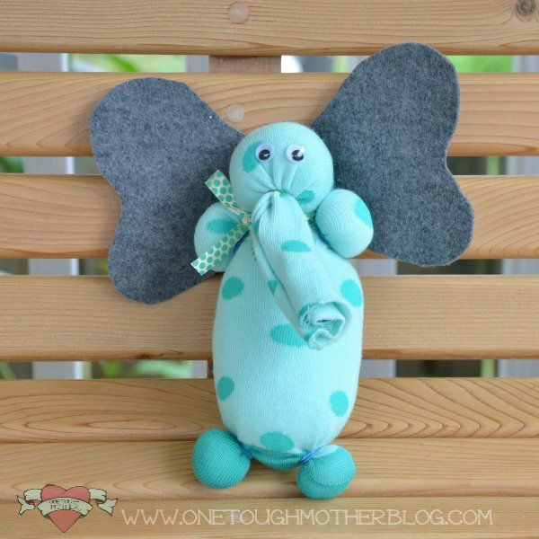 No Sew Sock Elephant | 22 Simple DIY Crafts For Kids