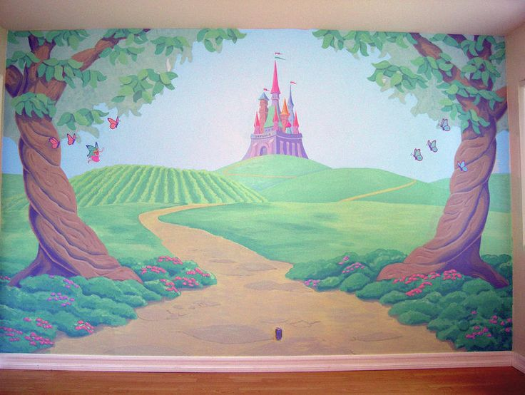 15 must see kids murals pins murals colorful wallpaper for Fairy castle mural
