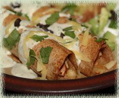 Chicken Flautas with Cilantro Cream Sauce