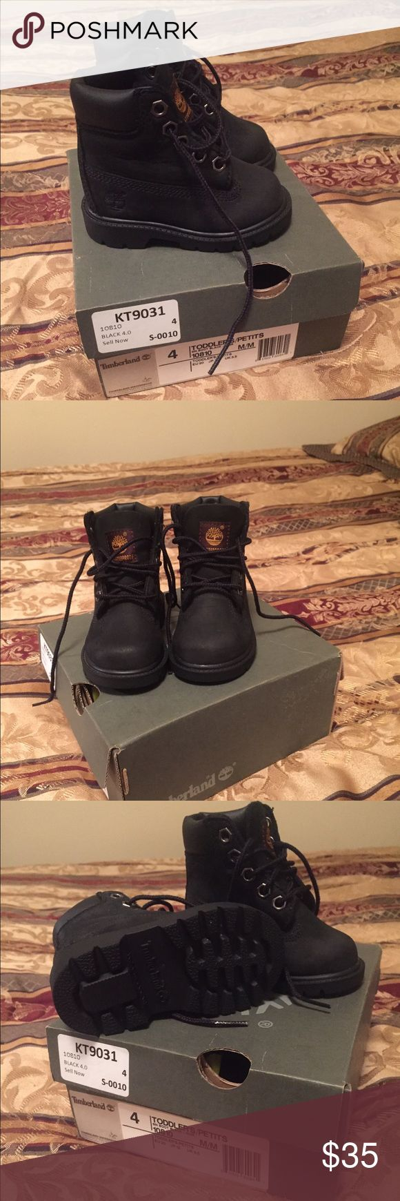Toddler Timberland Boots 4c Black Timberland Boots. Only wore twice & in perfect condition! Size 4c Timberland Shoes Boots