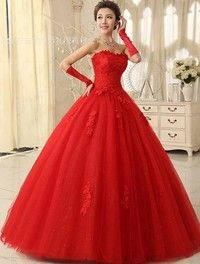 Wish | Romantic Red Wedding Dress Ball Gown Bridal Gown Floor-Length Sleeveless Strapless Organza Bridal Dress With Lace