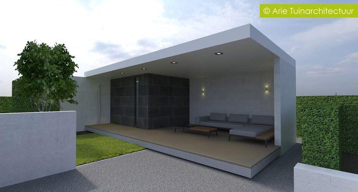 Stukje wellness in de tuin overkapping wordt van luxcom met ingebouwde sauna en buitendouche - Moderne tuin ingang ...