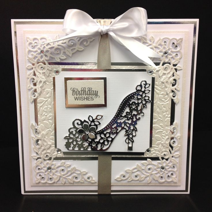 Simple white & silver layered card