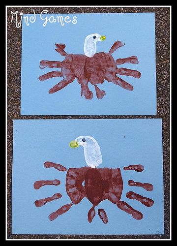 Bald Eagle handprint art - Re-pinned by #PediaStaff.  Visit http://ht.ly/63sNt for all our pediatric therapy pins