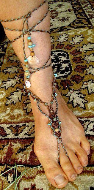 Macrame HIPPIE Single BAREFOOT macrame sandal by ArtOfGoddess
