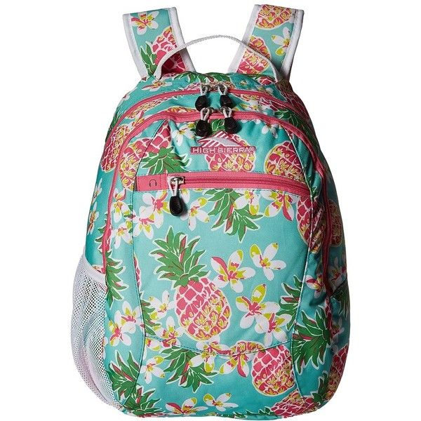 High Sierra Curve Backpack (Pineapple Party/Pink Lemonade/White)... ($25) ❤ liked on Polyvore featuring bags, backpacks, zip bags, padded backpack, backpacks bags, polyester backpack and high sierra daypack