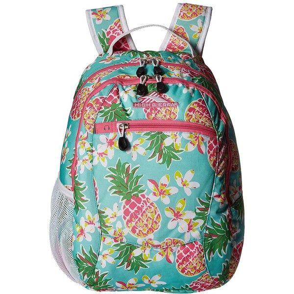 High Sierra Curve Backpack (Pineapple Party/Pink Lemonade/White)... ($25) ❤ liked on Polyvore featuring bags, backpacks, zip bags, padded backpack, backpacks bags, polyester backpack and high sierra daypack