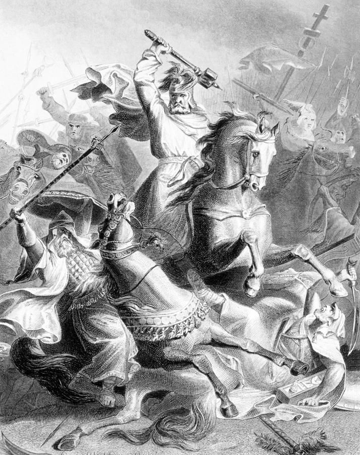 Charles Martel halting the Moorish conquest of Europe at the Battle of Tours, 732 A.D., engraving after the painting by G. Bleibtrau, 1882 - A very interesting figure in French history himself, as well as being the grandfather of Charlemagne.