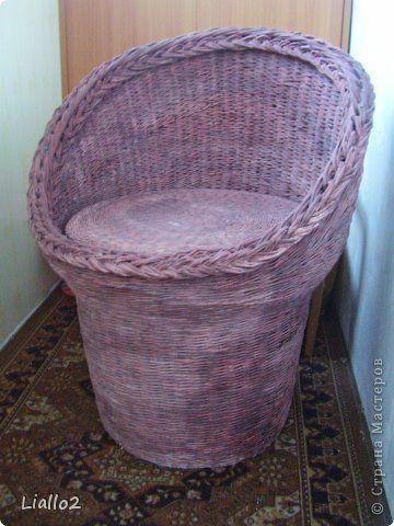 Поделка изделие Плетение Кресло из бумажной лозы Трубочки бумажные фото 1