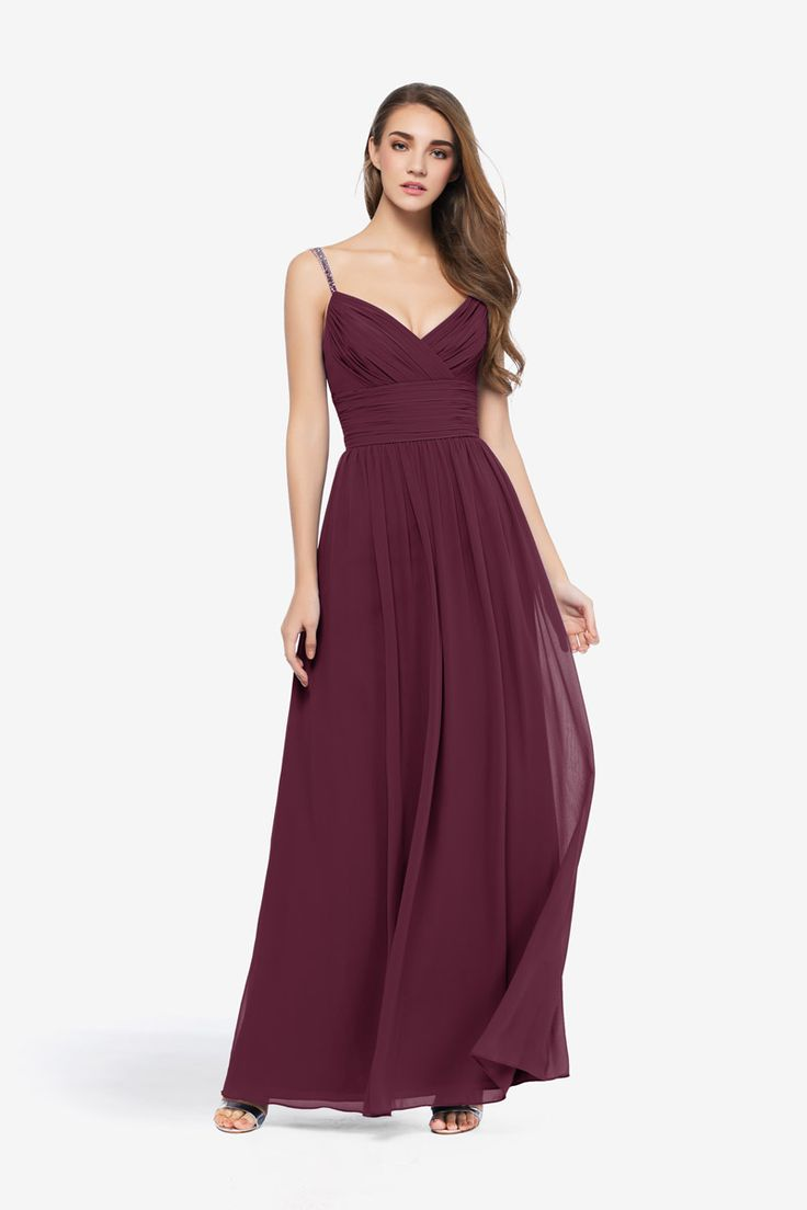 Ashland Gown Ashland Bridesmaid Gown in 16 colors of LIght and airy Chiffon with beaded straps for your wedding party in black, coral, eggplant, hot pink, mink, navy, sage, orchid, raspberry, royal, tulip, shadow, soft yellow, turquoise
