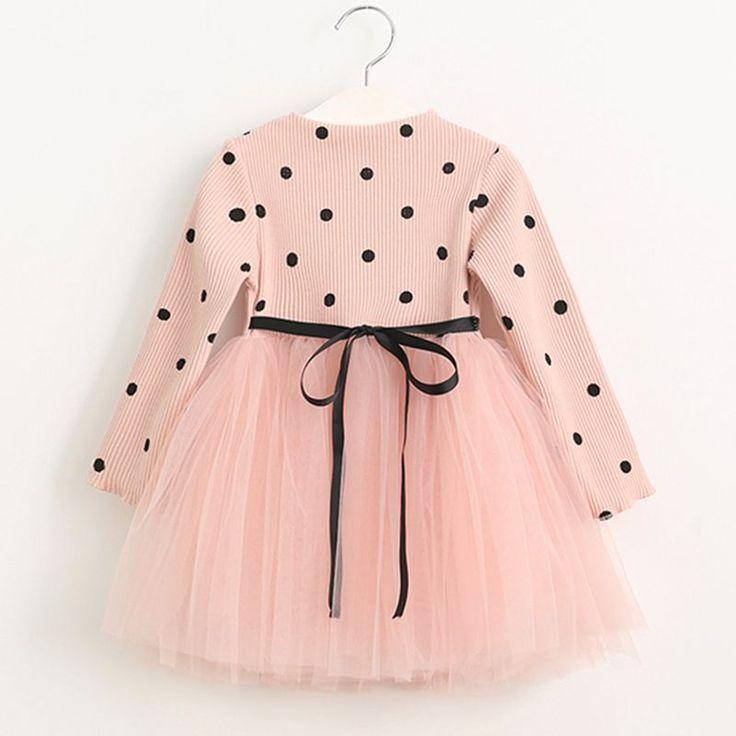 Meninas Vestem 2016 Nova Moda Inverno quente Malha Meninas Vestidos Longo-luva Dot Malha Projeto Da Princesa Crianças Vestido de Inverno roupas