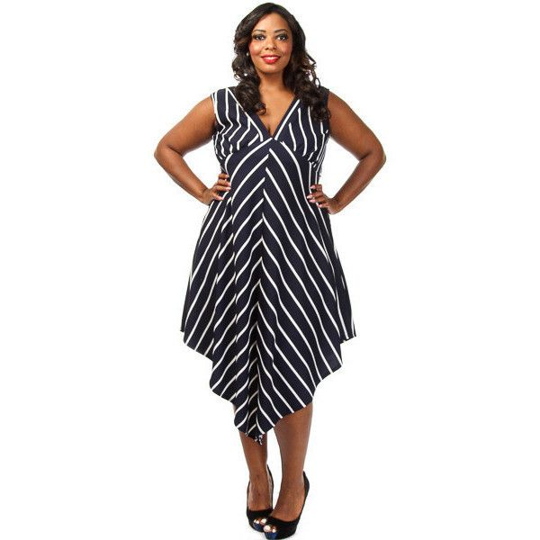 Black Plus Size Stripe Long Dress LAVELIQ