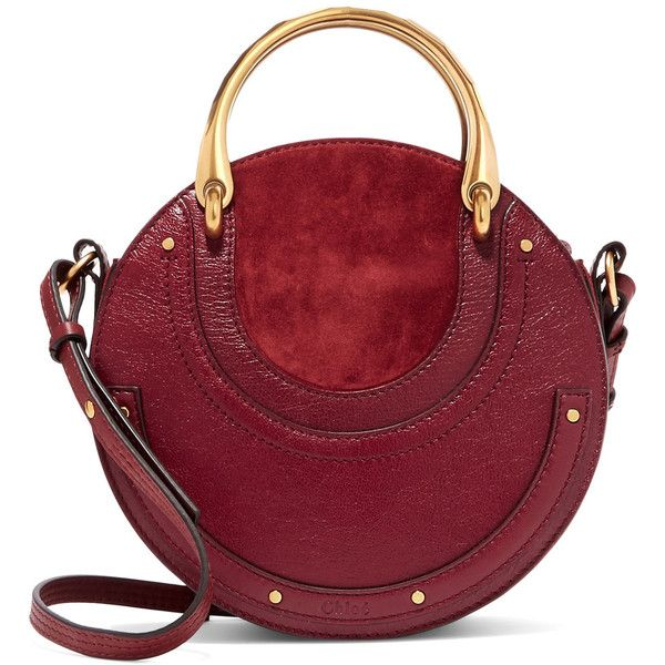 Chloé Pixie textured-leather and suede shoulder bag (£1,140) ❤ liked on Polyvore featuring bags, handbags, shoulder bags, burgundy, suede shoulder bag, red shoulder bag, zip shoulder bag, suede handbags and burgundy purses
