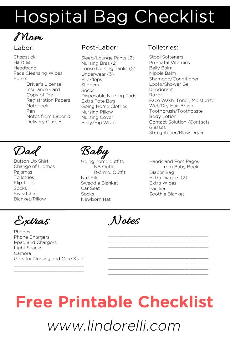 Free Printable Hospital Bag Checklist! Wondering what to pack? This Printable Maternity Labor and Delivery Hospital Bag Checklist for pregnant moms to be will help you get organized before you head to the hospital to give birth.