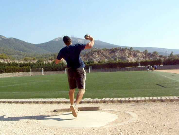 shot put training at the age of 41
