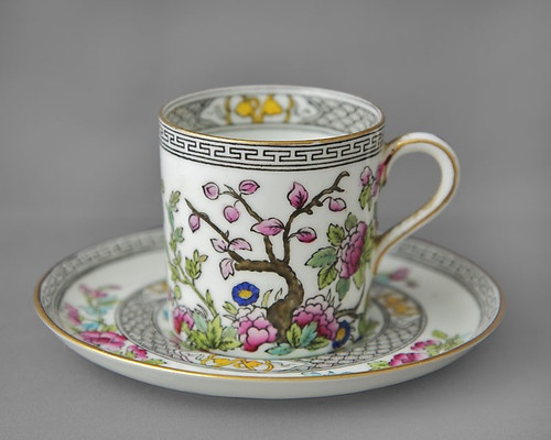 Aynsley vintage china coffee can & saucer duo Indian Tree c1905-25 http://www.ebay.co.uk/itm/290700067026