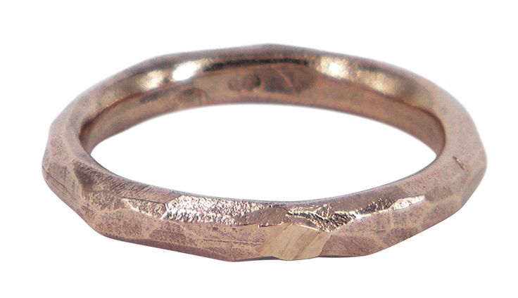 Very thin explosion wedding ring in 9ct rose gold