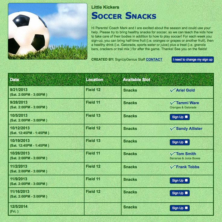 snack schedule template for sports