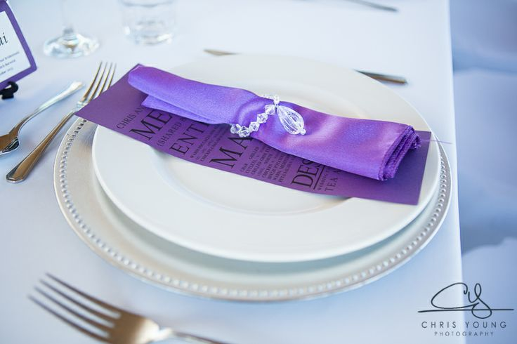 Purple napkins.  Styled by Event Avenue.  Contact us for details.  http://www.tailracecentre.com.au/contact/ http://www.tailracecentre.com.au/2014/01/06/chris-angela-barwicks-wedding/