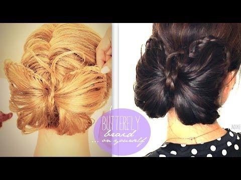 ▶ ★ BUTTERFLY BRAID TUTORIAL | CUTE BUN HOLIDAY HAIRSTYLES FOR MEDIUM LONG HAIR | trenzas peinados - YouTube