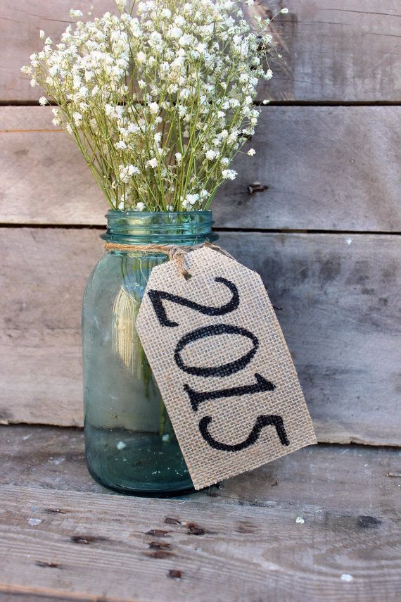 2015 graduation decor . class of 2015 . rustic country burlap table tags . barn graduation party decor