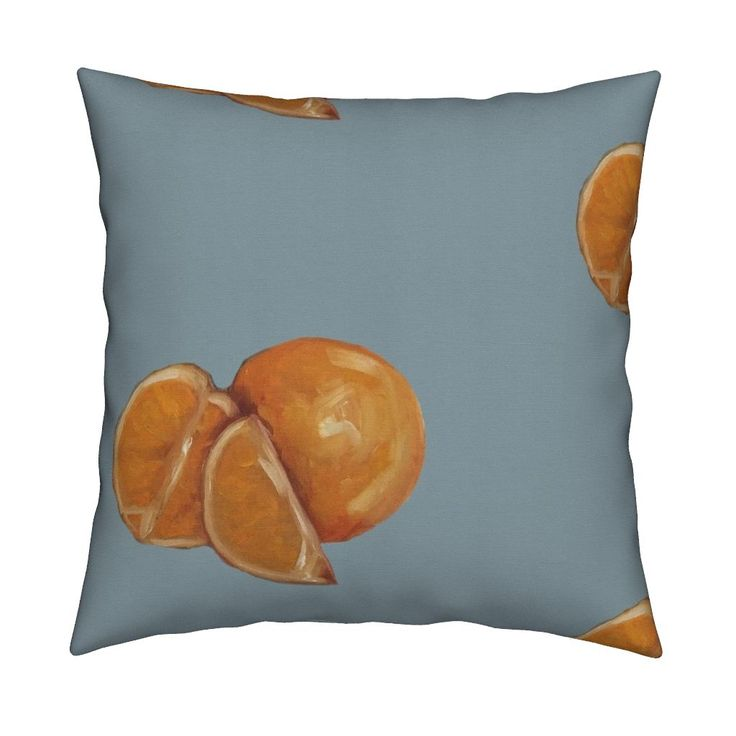 Catalan Throw Pillow featuring Duck Egg and Oranges by traceyharveydesigns | Roostery Home Decor