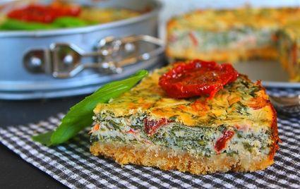 Cheesecake salé épinards, fromage de chèvre et tomates confites
