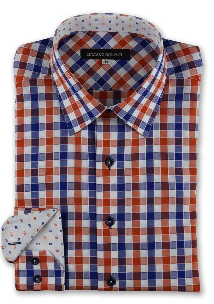 Luciano Ridolfi Orange & Blue Gingham Check Button Cuff Shirt - https://www.ridolfiwear.com/casual-shirts/luciano-ridolfi-orange-blue-gingham-check-button-cuff/