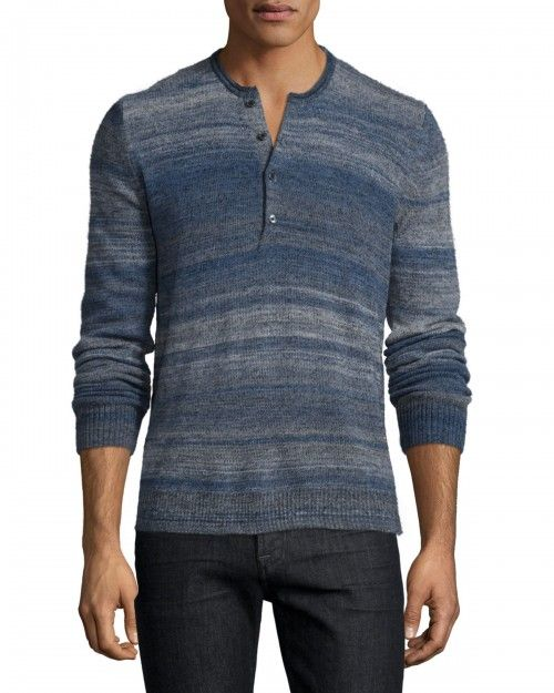 7+For+All+Mankind+Space+Dye+Long+Sleeve+Henley+Shirt+Navy+Nvy+|+Top+and+Clothing