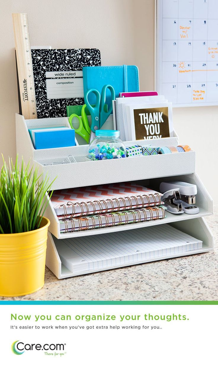 Organize your thoughts! Care.com can help you find the organizational wizards you need to clean and declutter your workspace. Because it's hard to think straight when your office is out of control.