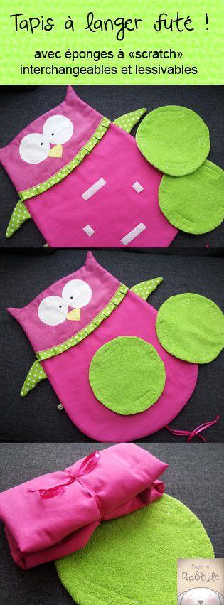 tapis à langer chouette Made in pacôtilles www.madeinpacotilles.com le créer en version pingouin ou panda