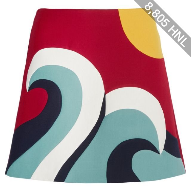 REDValentino Color-block cotton-blend crepe mini skirt